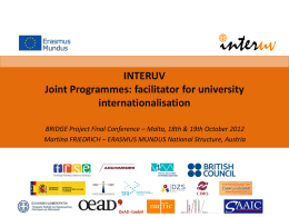 Joint Programmes - facilitator for university