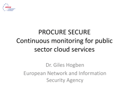 ENISA/EU Agencies Cloud Computing Procurement Support