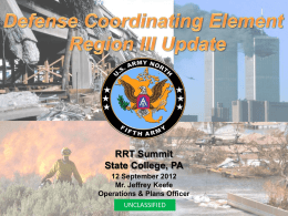 Defense Coordinating Element Region III Update
