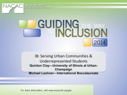 IB: Serving Urban Communities & Underrepresented Students