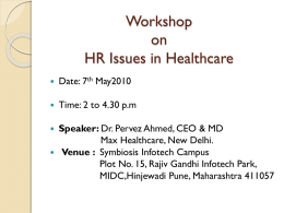 HR Issues in Healthcare - Symbiosis Centre of Health Care