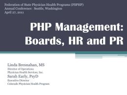 PHP Management - Federation of State Physician Health Programs