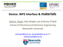 Device: WP2 Interface & materials