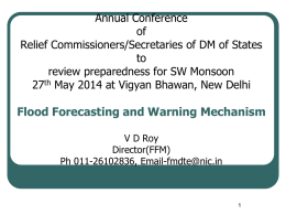 "Presentation by CWC on ""Flood Forecasting and Warning"