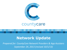 CountyCare Network Update