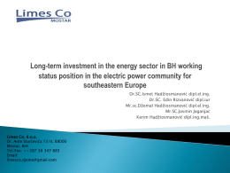 Long-term investment in the energy sector in BH working status