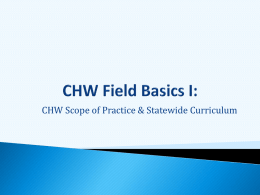 CHW Field Basics I: