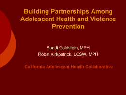 Building Partnerships Among Adolescent Health and Violence