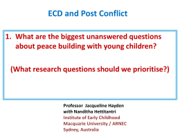 ECD and Post Conflict