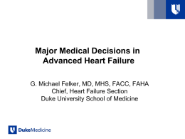 Major Medical Decisions in Advanced Heart Failure