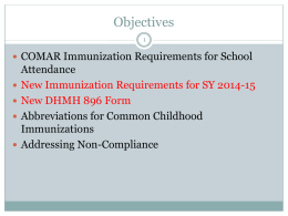 Immunization Requirements for School Attendance in Maryland