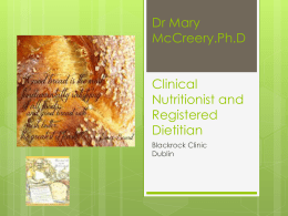 Dr Mary McCreery.Ph.D Clinical Nutritionist and Dietitian