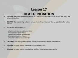Heat generation - Regional Center for Nuclear Education & Training