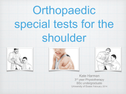 2. Special tests for the shoulder