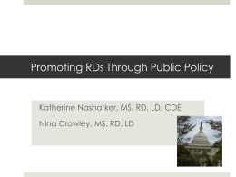 Promoting RDs Through Public Policy