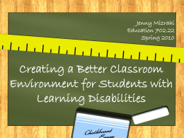 Creating a Better Classroom Environment for Students with Learning