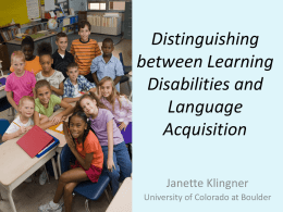 Distinguishing between Learning Disabilities and