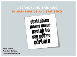 Thinking and literacy in mathematics and statistics powerpoint