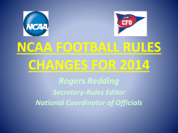 NCAA FOOTBALL RULES CHANGES FOR 2011