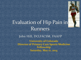 Evaluation of Hip Pain in Runner`s