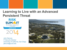 Learning to Live with an Advanced Persistent Threat PPT Only
