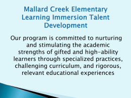 Mallard Creek Elementary Learning Immersion Talent Development