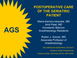 Postoperative Care in the Geriatric Patient