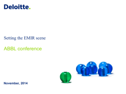 Setting the EMIR scene - Laurent Collet, Deloitte