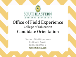 The Office of Field Experience - Southeastern Louisiana University
