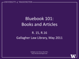Books and Articles - Gallagher Law Library