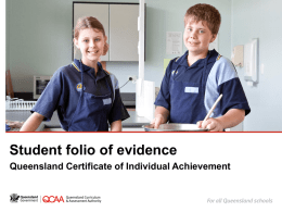Student folio of evidence: Queensland Certificate of Individual