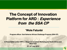 The Concept of Innovation Platform for ARD
