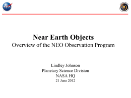 Status and plans for the NEOO program