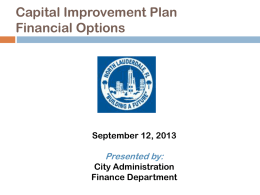 Capital Improvement Plan - City of North Lauderdale