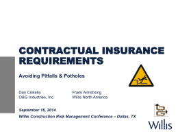 Contractual Insurance Requirements - Avoiding Pitfalls and
