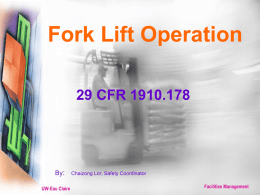 Fork Lift Operation - University of Wisconsin