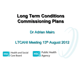 Long Term Conditions Commissioning Plans (Dr Adrian Mairs)