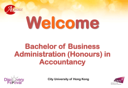 Accountancy as a Profession - College of Business