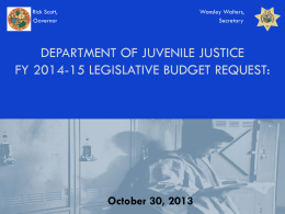 Department of Juvenile Justice Legislative Budget Request