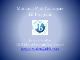 Open House Powerpoint - Monarch Park Collegiate