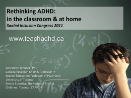 Rethinking ADHD in the classroom and at home