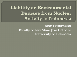 Liability on Environmental Damage from Nuclear Activity in Indonesia