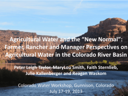 "Agricultural Water and the ""New Normal"""