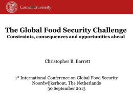 The Global Food Security Challenge: Constraints, consequences