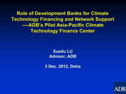 Role of development Banks for Climate Technology Financing and