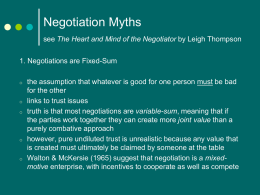 Negotiation Myths (PowerPoint)