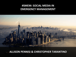 the role of social media in disasters BY PENNISI & TARANTINO