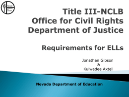 Title III-NCLB/Office of Civil Rights/Department of Justice