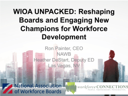 WIOA Unpacked for the New Board