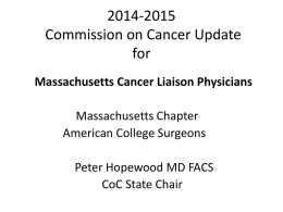 2014-2015 CoC Update for Massachusetts Cancer